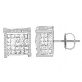 2.50 CT. 3D Diamond Studs in 14K White Gold