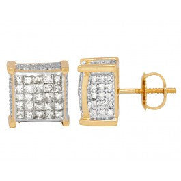 2.50 CT. 3D Diamond Studs in 14K Yellow Gold