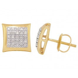 0.40 CT. Five Row Pave Diamond Studs in 10K Yellow Gold