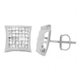 1.50 CT. Princess Cut Diamond Kite Studs in 14K White Gold