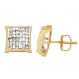 1.50 CT. Princess Cut Diamond Kite Studs in 14K Yellow Gold