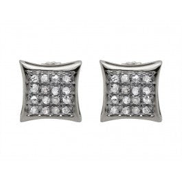 0.15 CT. Four Row Diamond Kite Studs in 10K White Gold