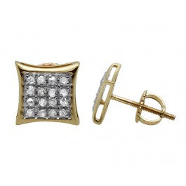 0.15 CT. Four Row Diamond Kite Studs in 10K Yellow Gold
