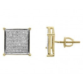 0.60 CT. Square Diamond Studs in 10K Yellow Gold