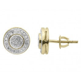 0.25 CT. Double Circle Diamond Studs in 10K Yellow Gold