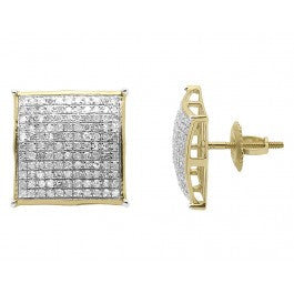 1.00 CT. Convex Square Diamond Studs in 10K Yellow Gold