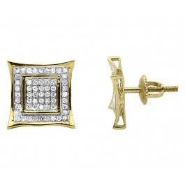 0.35 CT. Double Square Diamond Studs in 10K Yellow Gold