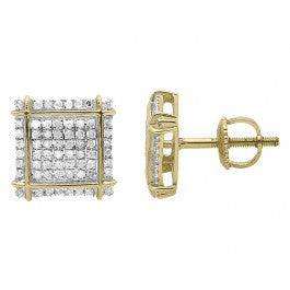 0.35 CT. Crossed Edge Square Diamond Studs in 10K Yellow Gold