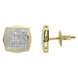 0.50 CT. Octagonal Diamond Studs in 10K Yellow Gold