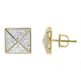 "0.40 CT. Square ""X"" Diamond Studs in 10K Yellow Gold"