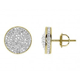 0.75 CT. Convex Circle Diamond Studs in 10K Yellow Gold