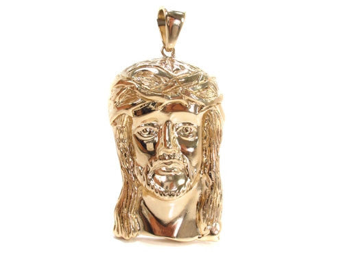 Solid Jesus Pendant in 14K Yellow Gold
