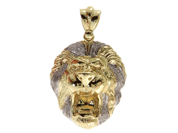 Roaring Lion Pendant in 10K Yellow Gold