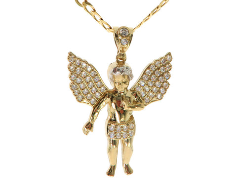 Angel Pendant with Cubics in 10K Yellow Gold (Chain Included)
