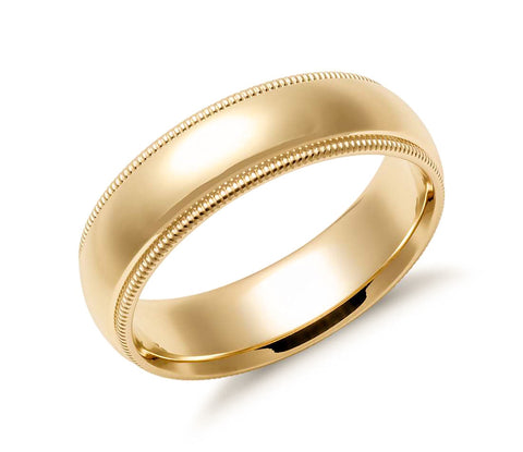 14K Gold Classic Millgrain Wedding Band - 6mm (Yellow or White Gold)