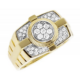 0.65 CT. Diamond Step Shank Pinky Ring in 10K Yellow Gold