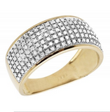 0.60 CT. Puff Pavé Diamond Wedding Engagement Band in 10K Yellow Gold
