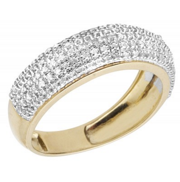 0.60 CT. Pavé Diamond Wedding Band in 10K Yellow Gold