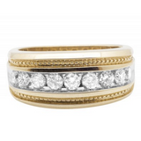 1.0 CT. Milgrain Channel Set Diamond Wedding Band in 10K Yellow Gold