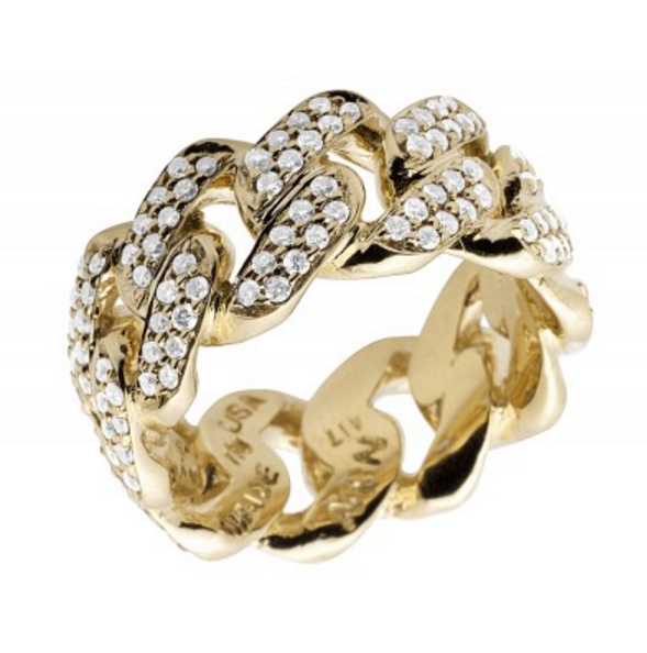 2.5 CT. Miami Cuban Link Diamond Ring in 10K Yellow Gold
