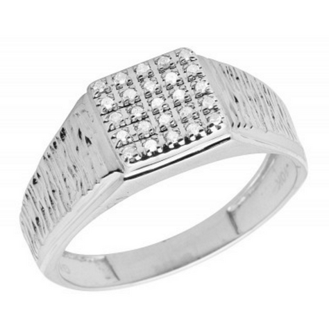 0.18 CT. Diamond Square Ring in 10K White Gold