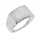 0.33 CT. Square Diamond Step Shank Ring in 10K White Gold