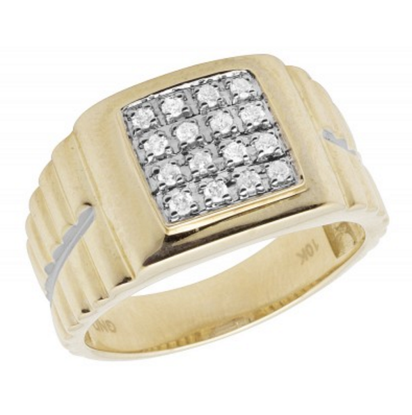 0.33 CT. Square Diamond Ring in 10K Yellow Gold