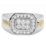 0.66 CT. Double Square Diamond Ring in 10K Two-Tone Gold