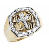 0.33 CT. Octagonal Diamond Ring with Cross in 10K White Gold