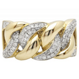 0.66 CT. Miami Cuban Link Diamond Ring in 14K Yellow Gold