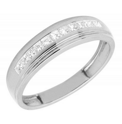 0.25 CT. One Channel Princess Cut Diamond Wedding Band in 10K White Gold
