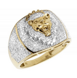1.25 CT. Diamond Lion Ring in 10K Yellow Gold
