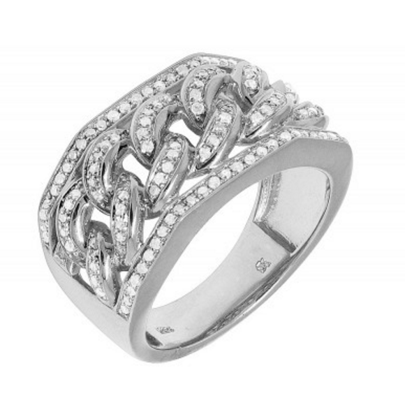1.0 CT. Miami Cuban Link Diamond Ring in 10K White Gold