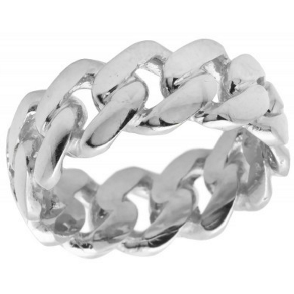 Miami Cuban Link Ring in Solid 10K White Gold