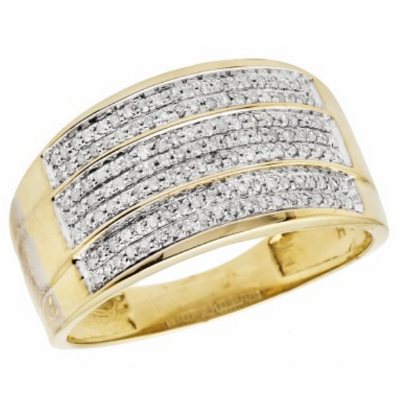 0.40 CT. Triple Banded Diamond Ring in 10K Yellow Gold