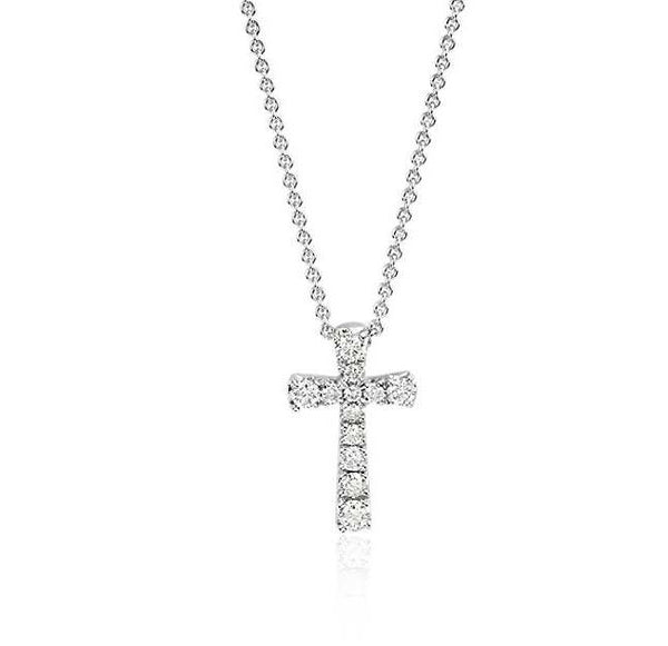 1/10 CT. Petite Diamond Cross Pendant in 14k White Gold