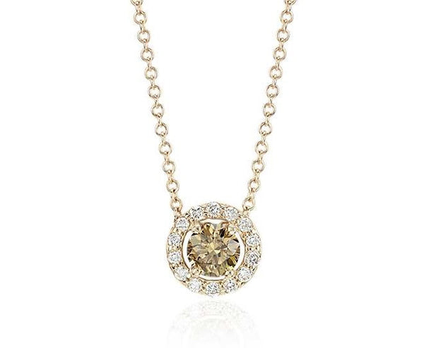 1/3 CT. Brown Halo Pendant in 14k Yellow Gold