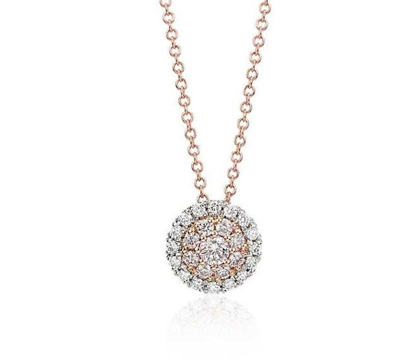 1/4 CT. Pink Diamond Double Halo Pendant in Platinum & 18k Rose Gold