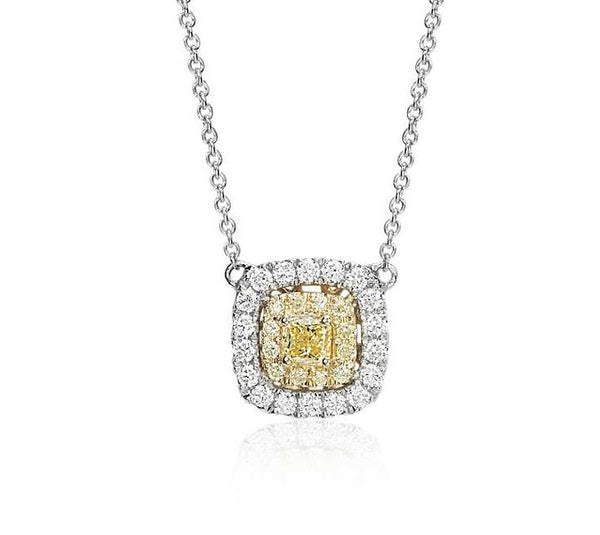1/4 CT. Yellow Diamond Cushion Necklace in 18k White and Yellow Gold