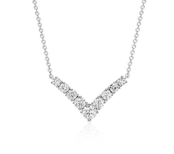 "1/2 CT. Diamond ""V"" Necklace 14k White Gold"
