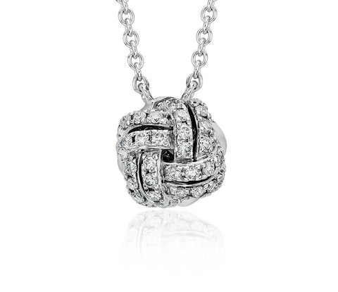 1/4 CT. Love Knot Diamond Necklace in 14k White Gold