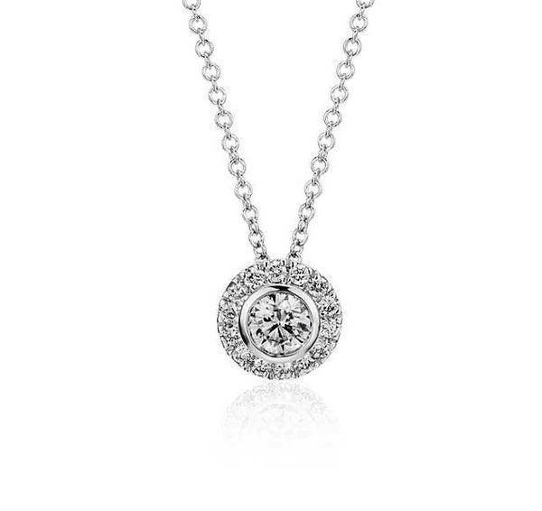 1/3 CT. Round Diamond Bezel-Set Halo Pendant in 14k White Gold