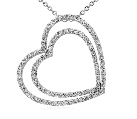 3/4 CT. Duet Heart Diamond Necklace in 14k White Gold