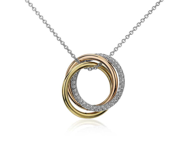 1/3 CT. Infinity Trio Diamond Pendant in 14k Tri-Colour Gold