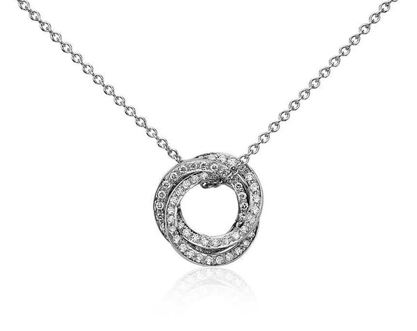 1/3 CT. Trio Circle Diamond Pendant in 14k White Gold