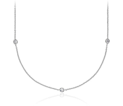 3/4 CT. Bezel-Set Stationed Diamond Necklace in 14K White Gold