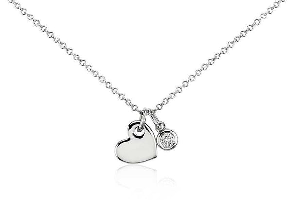 1/20 CT. Heart and Diamond Charm Pendant in 14k Rose Gold