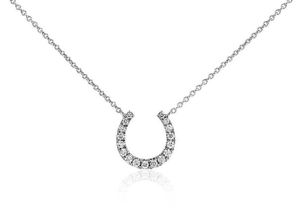 1/10 CT. Mini Horseshoe Diamond Necklace in 14k White Gold