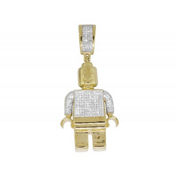 0.75 CT. Lego Man Diamond Pendant in 10K Yellow Gold