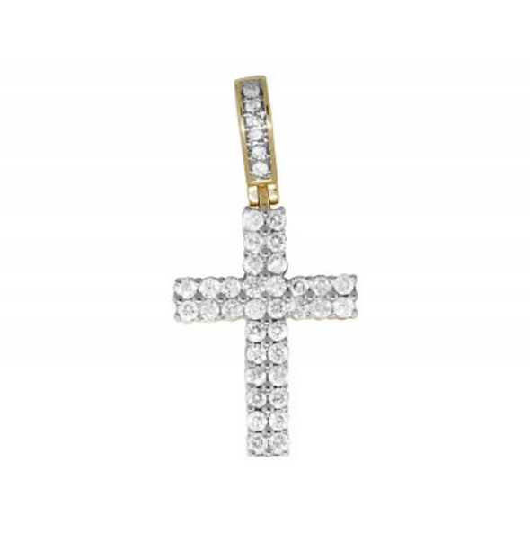1.0 CT. Two Row Diamond Cross Pendant in 14K Yellow Gold